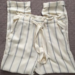 H&M cream striped ankle straight pants 8